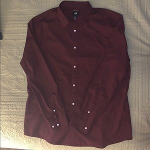 NWT maroon button up